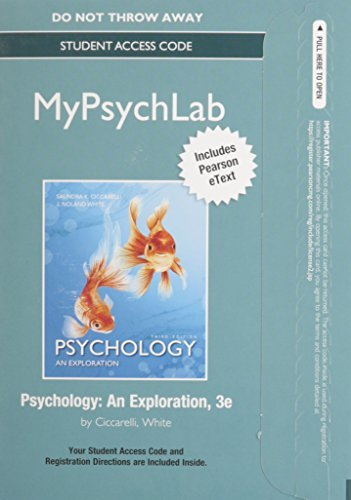 NEW MyPsychLab with Pearson eText -- Standalone Access Card -- for Psychology: An Exploration (3rd Edition)