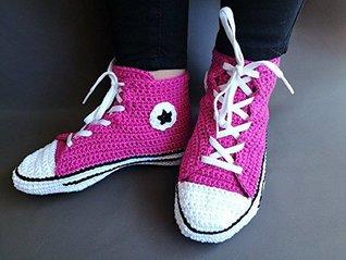 Crochet Pattern Adult Converse, All Star, man/woman, US size:3-13, Eu size:34-46