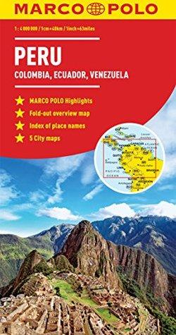 Peru, Colombia, Venezuela Marco Polo Map (Ecuador, Guyana, Suriname)