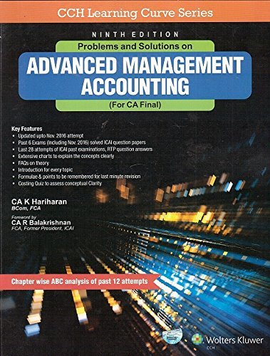 Problems and Solution on Advanced Management Accounting