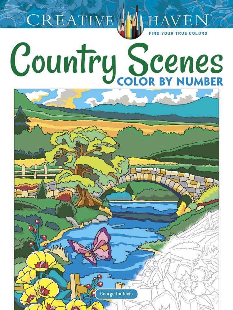 Creative Haven Country Scenes Color by Number Coloring Book