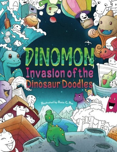 Dinomon - Invasion of the Dinosaur Doodles: A Cute and Fun Coloring Book for Adults and Kids