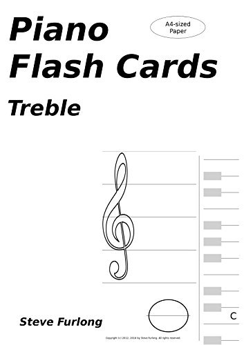 Piano Flash Cards: Treble Notes for A4 Paper