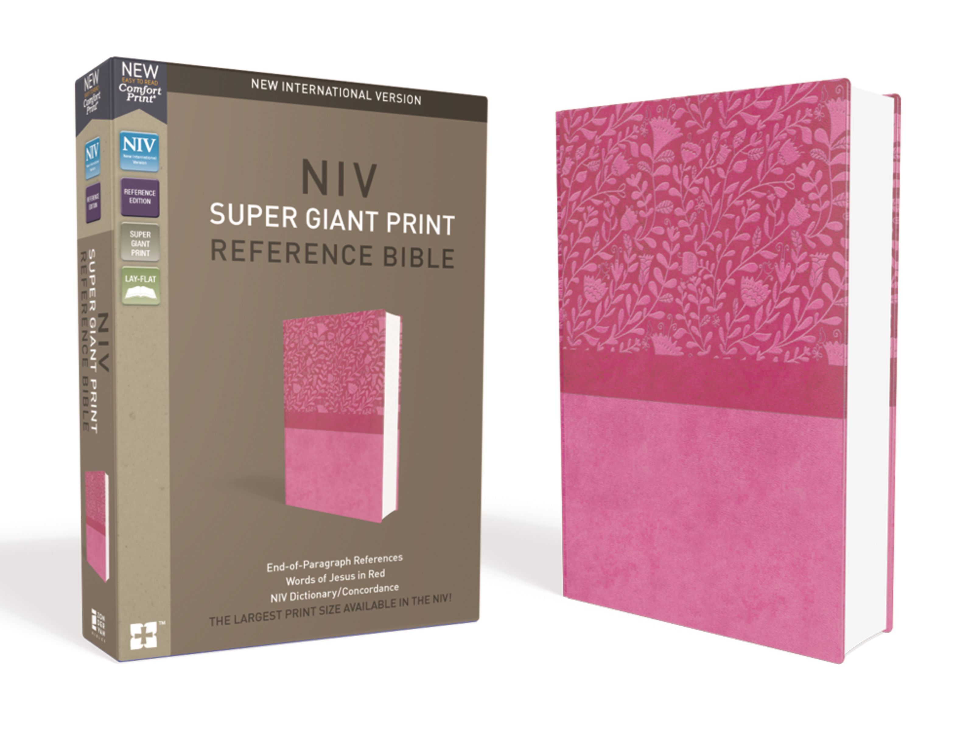 NIV, Super Giant Print Reference Bible, Leathersoft, Pink, Red Letter Edition, Comfort Print