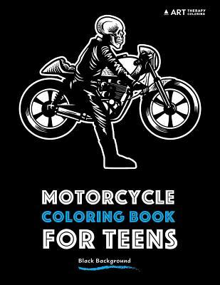 Motorcycle Coloring Book for Teens: Black Background