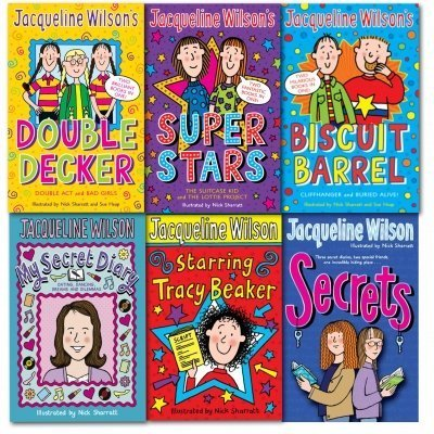 Jacqueline Wilson Collection 6 Books Set-Double Decker: Double Act and Bad Girls, Super Star: The Suitcase Kid and The Lottie Project, Biscuit Barrel: Cliffhanger and Buried Alive, My Secret Diary, Starring Tracy Beaker, Secrets -Mix Lot