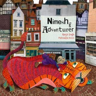 book cover showing a boy and a tiger