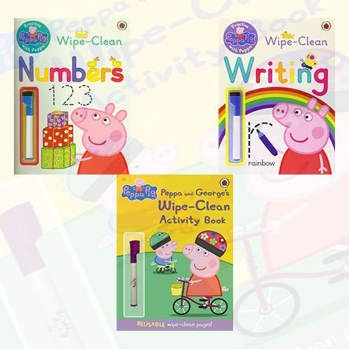 Peppa Pig Wipe Clean Collection 3 Books Set (Writing,Numbers,Activity Book)
