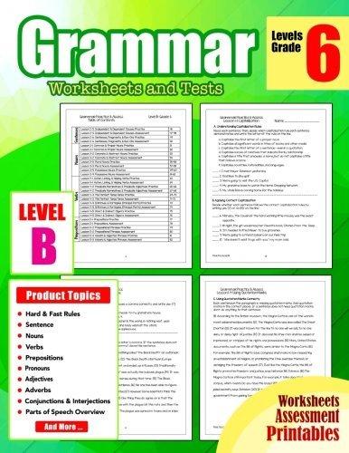 Grammar 6th Grade: Grammar Workbook Grade 6 Worksheets and Tests No Prep Printables for 5th, 6th Grade