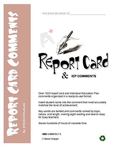 Report Card Comments: 1830 Report Card and IEP Comments