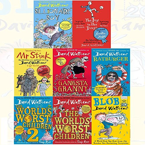 David Walliams 8 Books Collection:  Billionaire Boy / The Boy in the Dress / Mr Stink / Gangsta Granny / Ratburger / The World's Worst Children / The World's Worst Children 2 / Blob