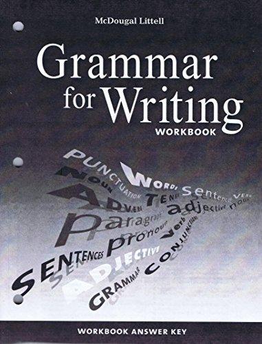 McDougal Littell Literature: Grammar for Writing Workbook Answer Key Grade 6