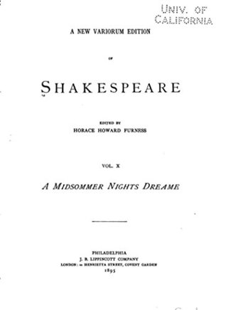 A Midsommer Nights Dreame (A New Variorum Edition Volume X)