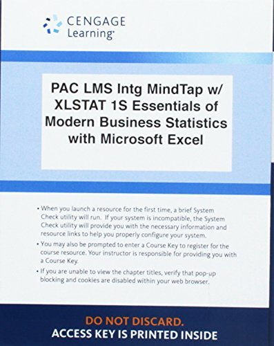Lms Integrated for Mindtap Business Statistics, 1 Term (6 Months) Printed Access Card for Anderson/Sweeney/Williams' Essentials of Modern Business Statistics with Microsoft Office Excel, 7th