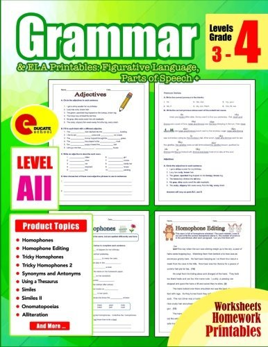 Grammar 4th Grade: Grammar Workbook Grade 4 Ela Printables: Figurative Language, Parts of Speech + for 3rd, 4th, 5th, 6th, 7th, Homeschool Grade