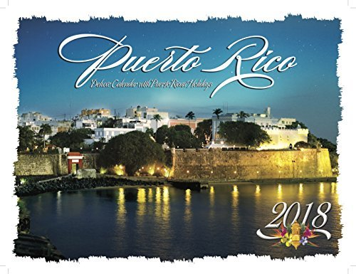 Puerto Rico Deluxe Wire-O Calendar 2018 - 12 x 9.5 (Including Puerto Rican Holidays) Monthly Square Wall Calendar, Scenic Travel Caribbean Islands