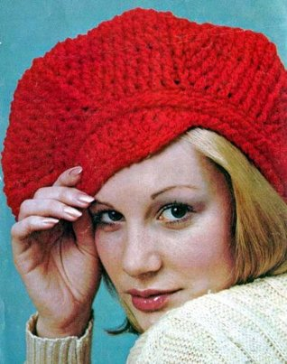 Newsboy Cap Hat Beanie Vintage Crochet Pattern EBook Download