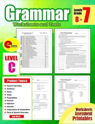 Grammar 7th Grade: Grammar Workbook Grade 7 Worksheets and Tests No Prep Printables for 6th, 7th, 8th Grade