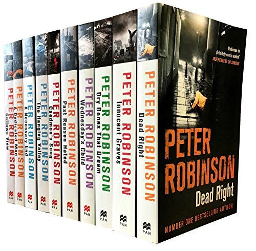 Peter Robinson The Inspector Banks Series 10 Books Collection Set (Death Right, Innocent Graves, Dry Bones That Dreams, Wednesday's Child, Past Reason Hated, Caedmon's Song, The Hanging Valley, A Necessary End, A Dedicated Man, Gallows View) (Series 1)