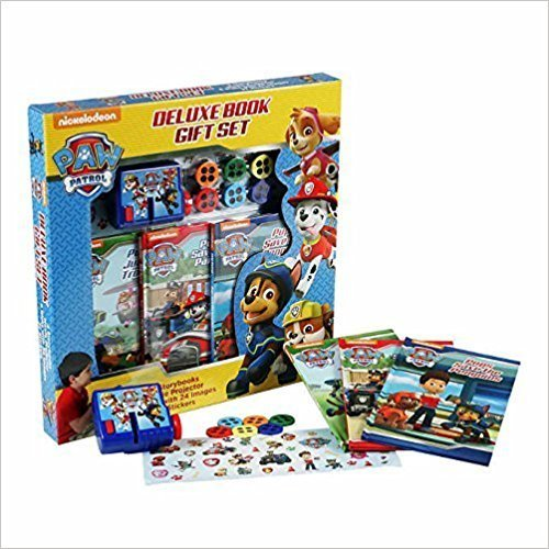 PAW Patrol Deluxe Book Gift Set ~ 11 PACK includes 3 Storybooks, 1 Movie Projector, 6 Picture Disks with 24 Images, Stickers (37 stickers)