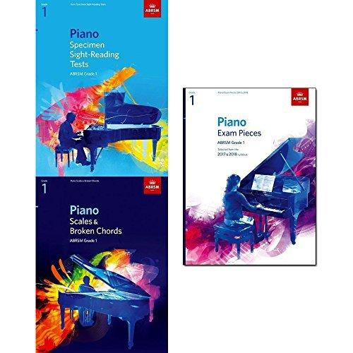 piano specimen sight-reading tests grade 1, piano scales & broken chords grade 1 and piano exam pieces 2017 & 2018, abrsm grade 1 3 books collection set