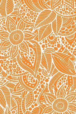 Deco Floral Notebook: Bright Orange: Notebook 6 X 9: Notebook 250 Pages