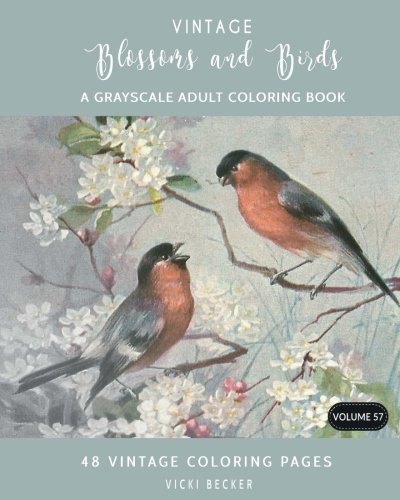 Vintage Blossoms and Birds: A Grayscale Adult Coloring Book: Volume 57 (Grayscale Coloring Books)
