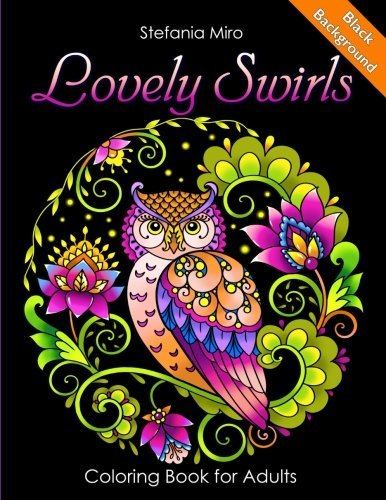 Lovely Swirls Coloring Book for Adults Black Background