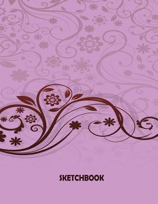 Sketchbook: Graphic Flower Purple Cover and Blank Pages, Extra Large (8.5 X 11) Inches, 110 Pages, White Paper, Sketch, Draw and Paint