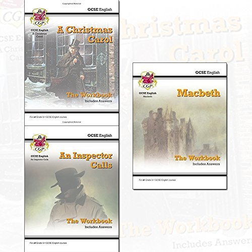 GCSE English Workbook Collection 3 Books Set By CGP Books (A Christmas Carol, An Inspector Calls, Macbeth