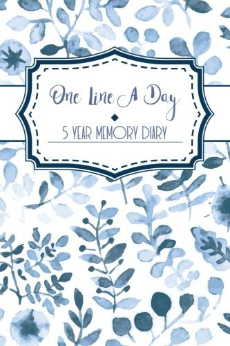 One Line a Day: A 5 Year Diary / Memory Journal - Memoir Book Blue Floral Watercolour