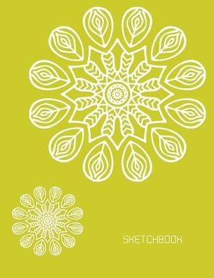 Sketchbook: Flower Mandala on Yellow Cover Blank Pages, Extra Large (8.5 X 11) Inches, 110 Pages, White Paper, Sketch, Draw and Paint