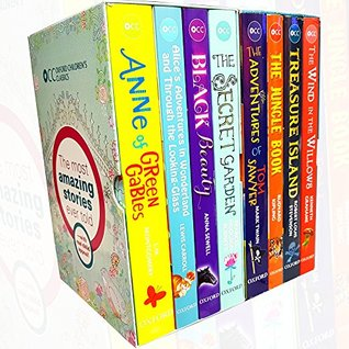 oxford children's classics collection 8 books set (anne of green gables,alice's adventures in wonderland,black beauty,secret garden,adventures of tom sawyer,the jungle book,treasure island,wind in the