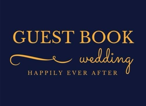 Guest Book: Gold Yellow Navy Blue Classic Paperback Soft Cover Sign-In Registry for Weddings & more