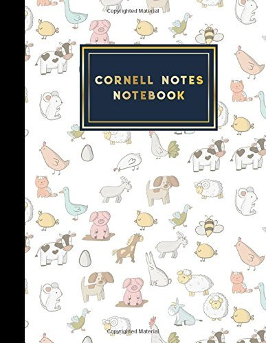 """Cornell Notes Notebook: Cornell Note Taking Books, Cornell Notes Pad, Note Taking System Notebook, Cute Farm Animals Cover, 8.5"""" x 11"""", 200 pages: Volume 4 (Cornell Notes Book)"""
