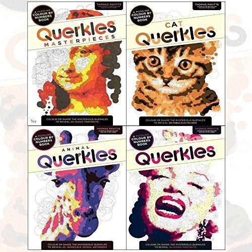 thomas pavitte querkles 4 books collection set - querkles masterpieces, querkles a puzzling colour-by-numbers book, animal querkles a puzzling colour-by-numbers book, cat querkles