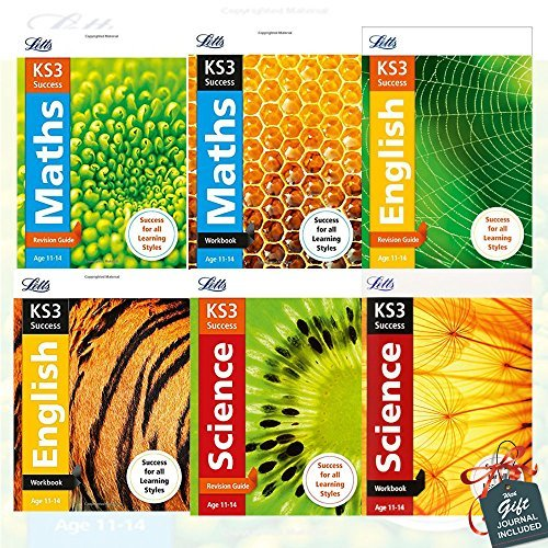 Letts KS3 Revision Success Collection 6 Books Bundle With Gift Journal (KS3 Maths Revision Guide, KS3 Maths Workbook, KS3 English Revision Guide, KS3 English Workbook, KS3 Science Revision Guide, KS3 Science Workbook)