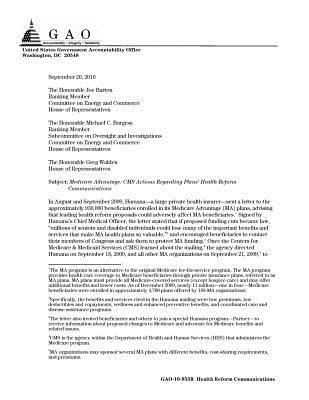 Medicare Advantage: CMS Actions Regarding Plans' Health Reform Communications