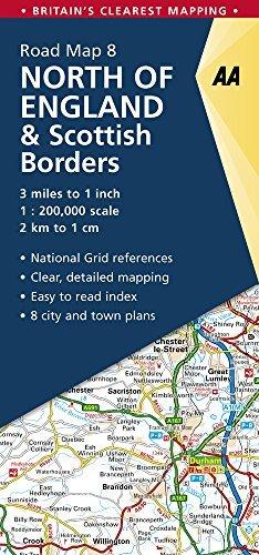 AA Road Map North England & Scottish Borders (AA Road Map Series 08) (AA Road Map Britain)