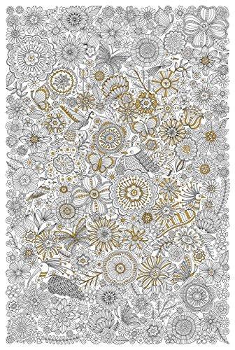 Blooms, Birds, & Butterflies Gold Foil Coloring Poster
