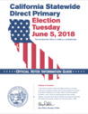 California Statewide Direct Primary Election Tuesday June 5, 2018 Official Voter Information Guide cover