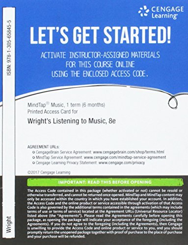 Mindtap Music, 1 Term (6 Months) Printed Access Card for Wright's Listening to Music, 8th