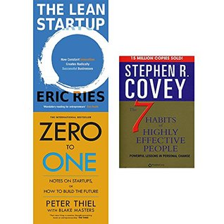 Lean startup, zero to one and 7 habits of highly effective people 3 books collection set