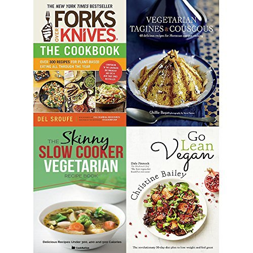 Forks over knives cookbook, vegetarian tagines and couscous [hardcover], slow cooker vegetarian recipe book and go lean vegan 4 books collection set