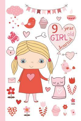 9 Year Old Girl Journal: Cute Happy Birthday Notebook Wide Ruled and Blank Framed Sketchbook Pages Diary for Kids to Keep Memories, Draw and Sketch, 50 Sheets/100 Pages, 6 X 9 Soft Cover
