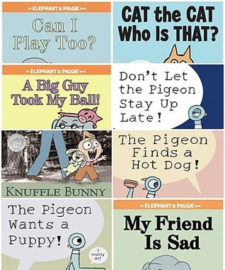 Mo Willems Set of 8 Paperback Books Includes Can I Play Too?, a Big Guy Took My Ball, Cat the Cat Who Is That?, Knuffle Bunny, the Pigeon Finds a Hot Dog!, Don't Let Pigeon the Stay up Late!, the Pigeon Wants a Puppy!, & My Friend Is Sad