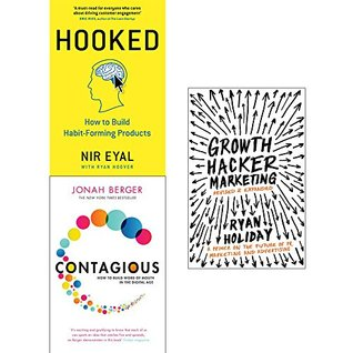 Hooked [hardcover], contagious and growth hacker marketing 3 books collection set