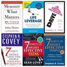 Measure what matters, drive, life leverage, 7 habits of highly effective people and teens and personal workbook 6 books collection set