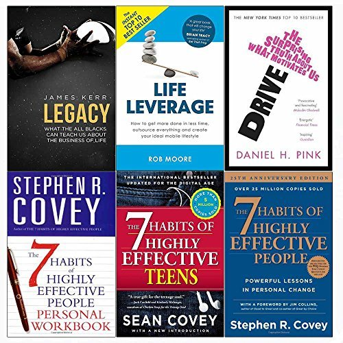 Legacy, drive, life leverage, 7 habits of highly effective people and teens and personal workbook 6 books collection set
