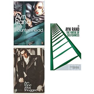 Fountainhead, atlas shrugged and virtue of selfishness 3 books collection set